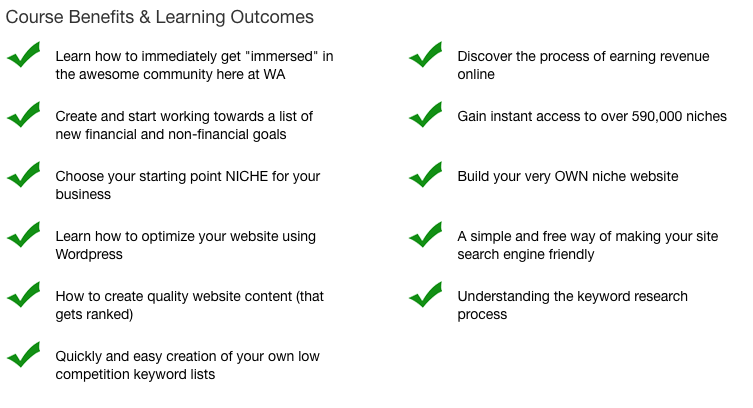 course outcomes for wealthy affiliate